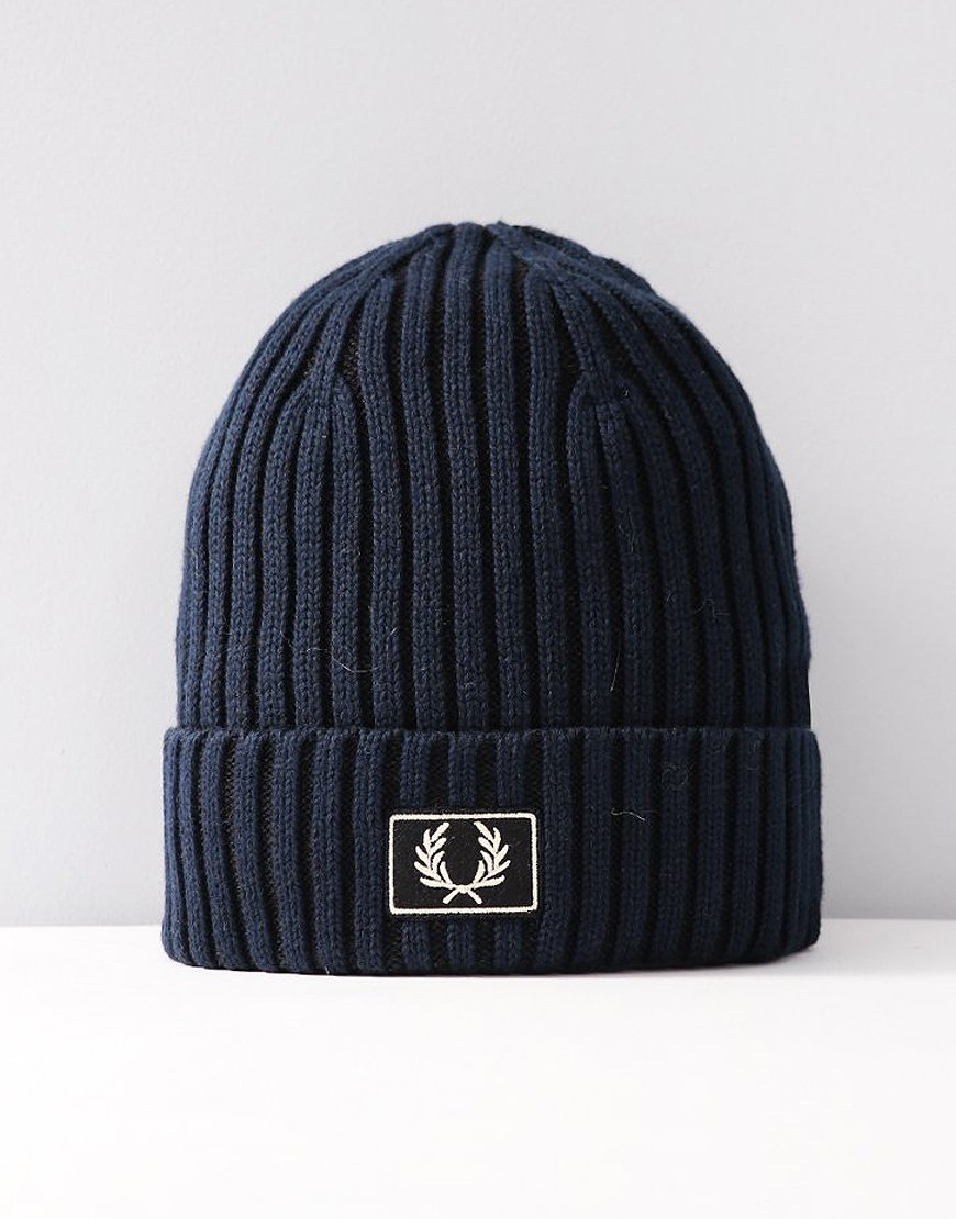 Fred Perry 2 Tone Knitted Hat Black Navy
