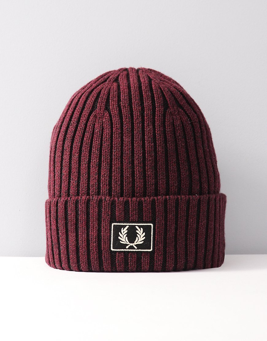 Fred Perry 2 Tone Knitted Hat Red