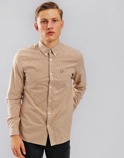 Fred Perry Three Colour Gingham Shirt  Dark Caramel