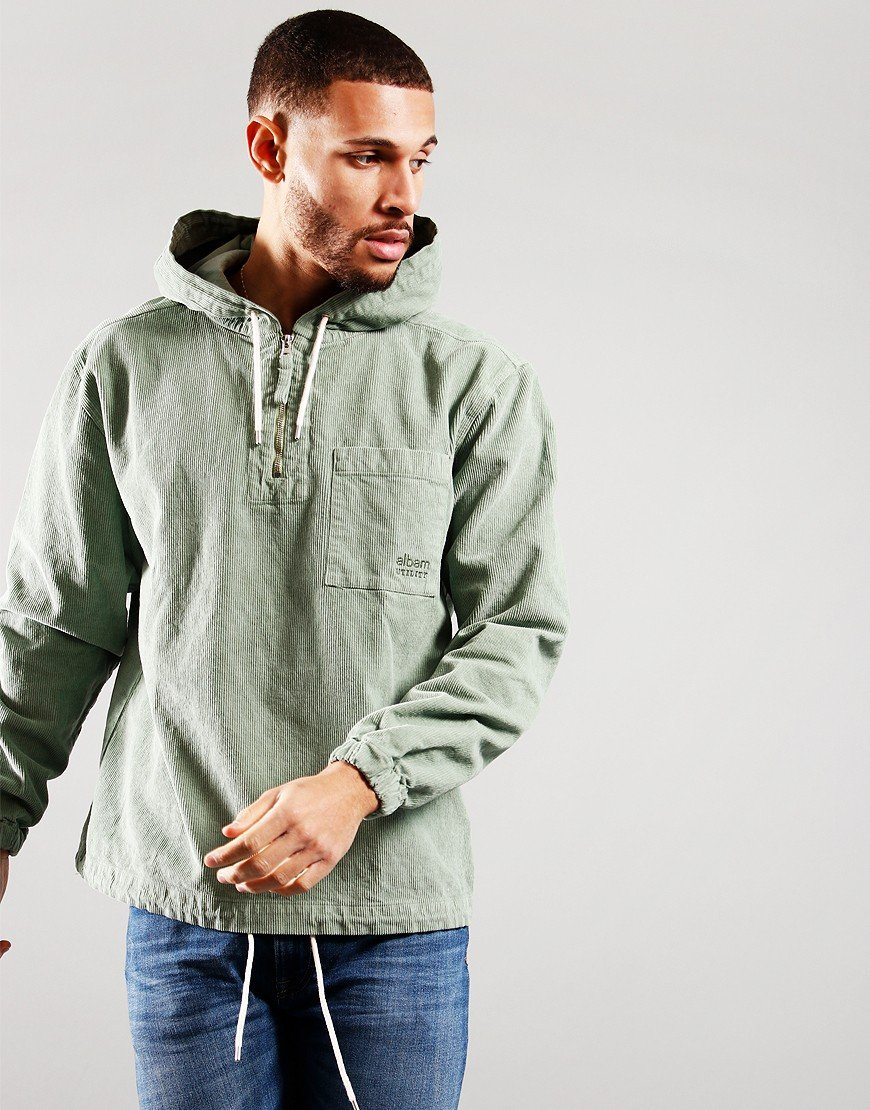 Albam Utility Corduroy Hooded Overshirt Overall Green