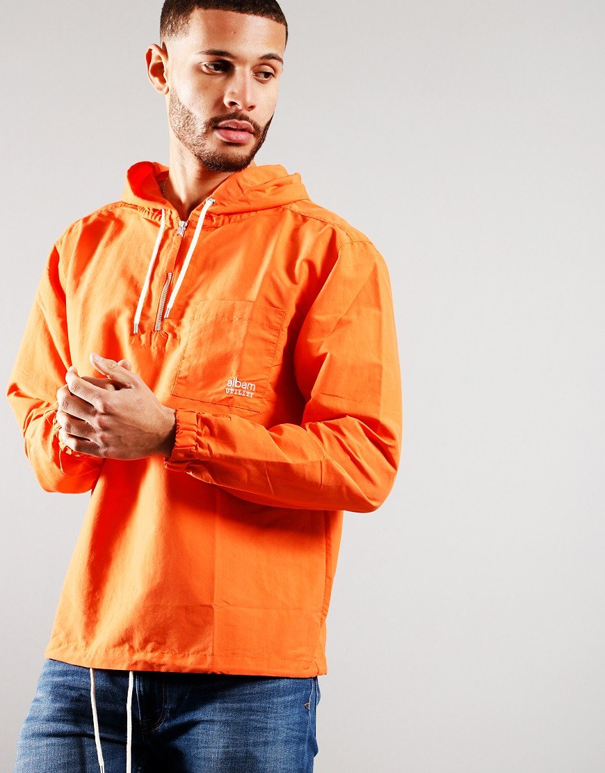 Albam Utility Nylon Hooded Overshirt Orange