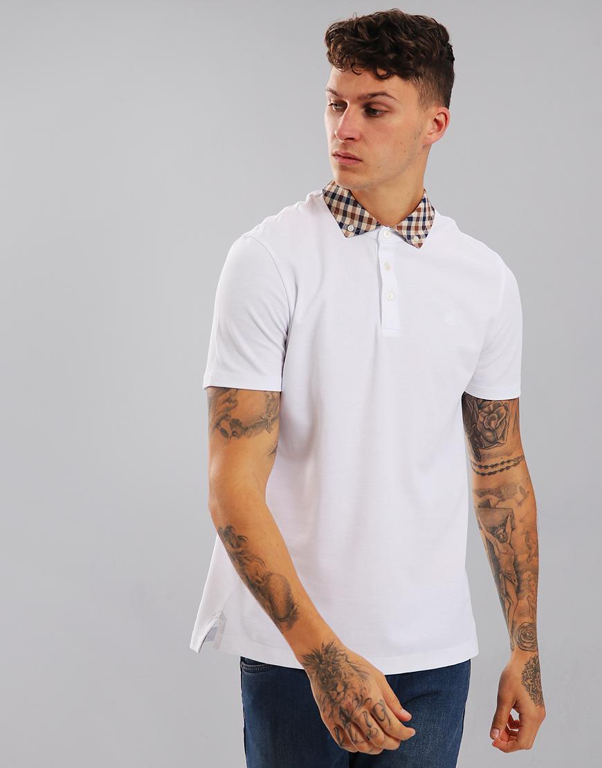 Aquascutum Coniston Club Check Placket Polo Shirt White