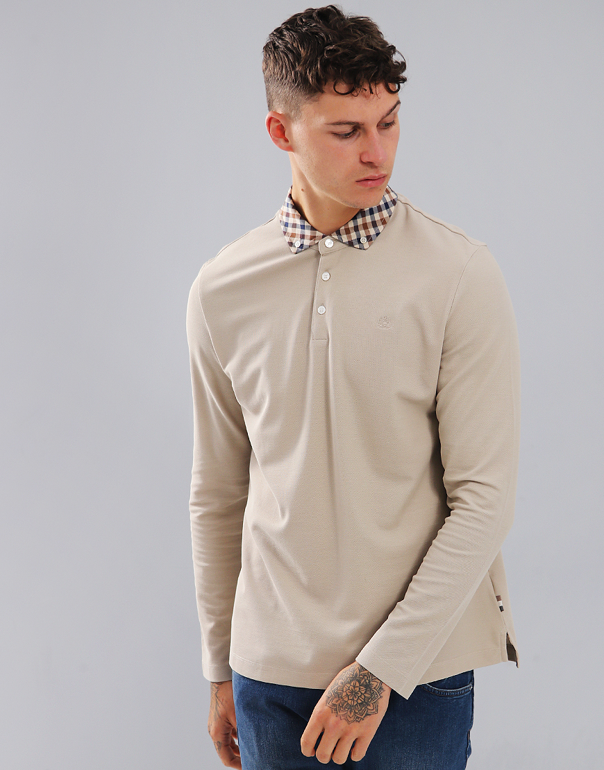 Aquascutum Coniston Long Sleeve Club Check Placket Polo Shirt Beige