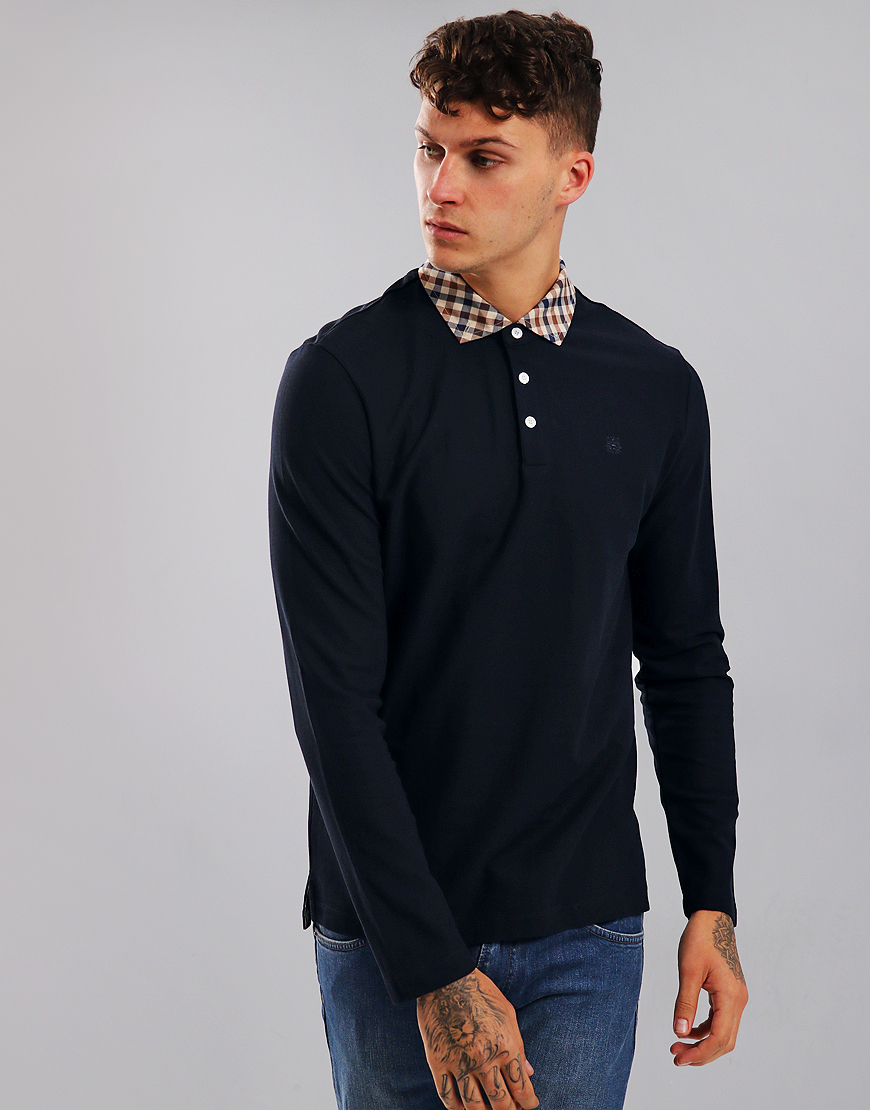 Aquascutum Coniston Long Sleeve Club Check Placket Polo Shirt Navy