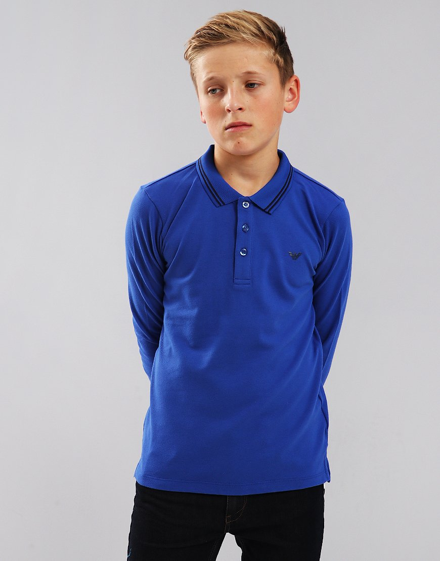 Armani Junior Long Sleeve Tipped Polo Blue China