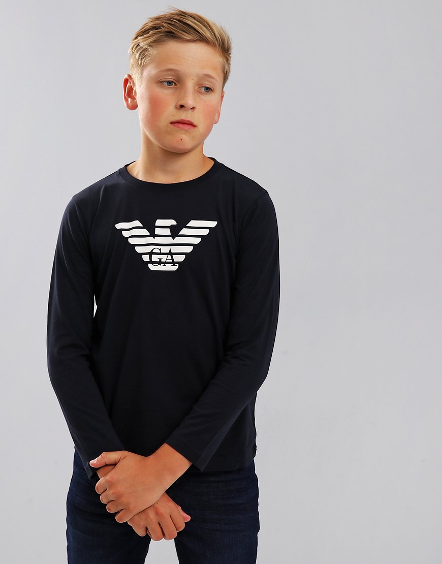 Armani Junior Long Sleeve T-Shirt Dark Blue
