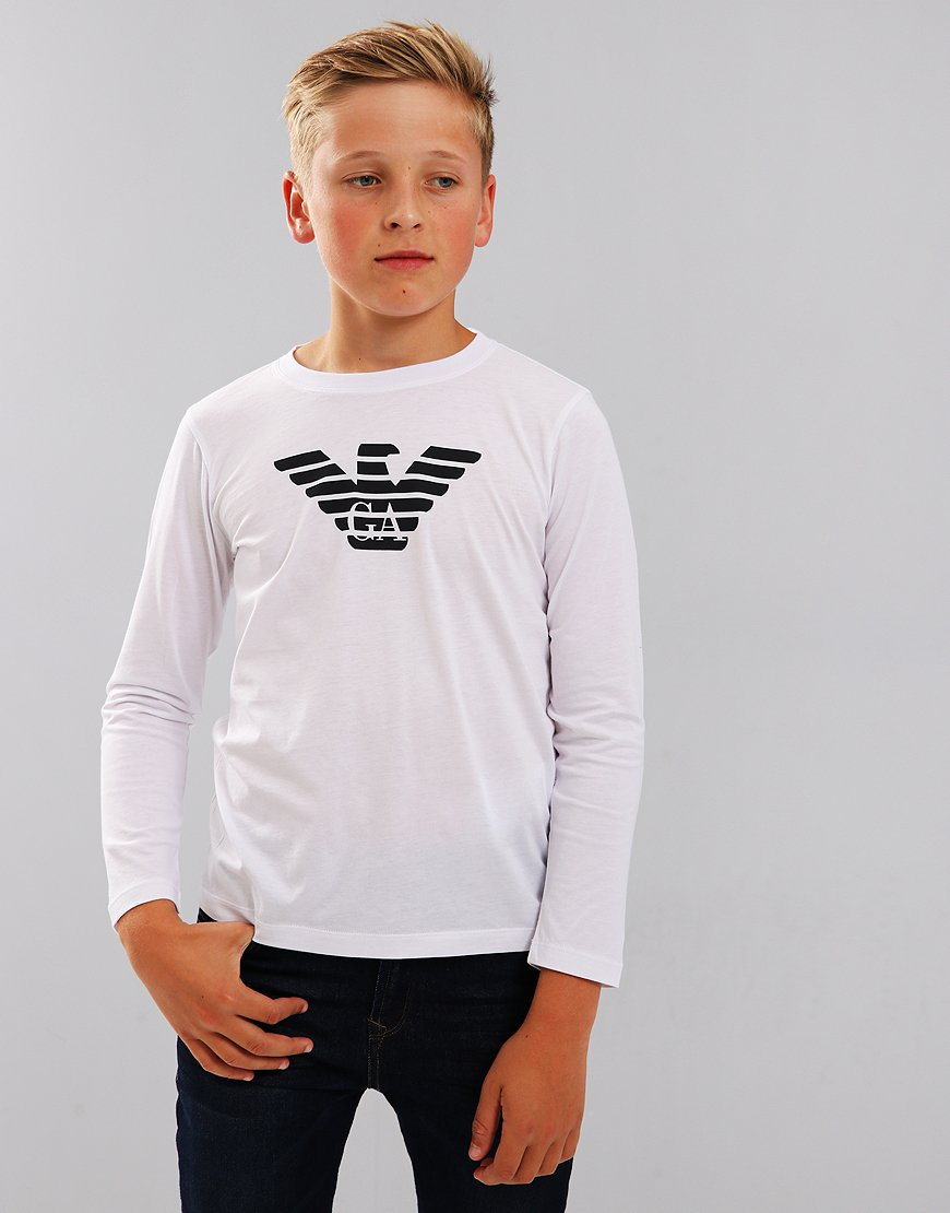 Armani Junior Long Sleeve T-Shirt White