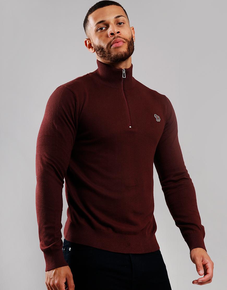 Paul Smith Zip Pullover Knit Dark Mahogany