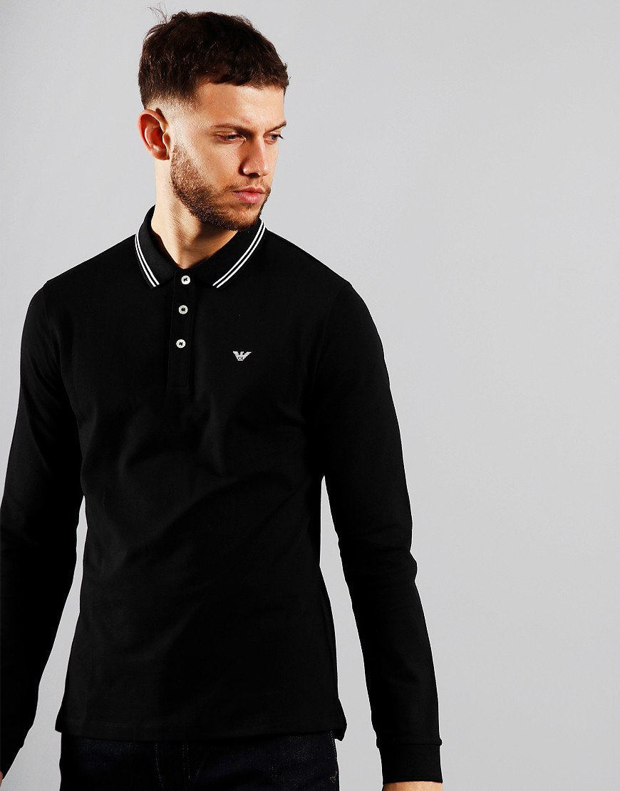 Emporio Armani Tipped Long Sleeve Polo Shirt Black