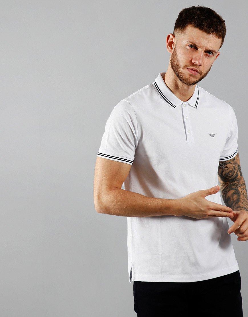 Emporio Armani Tipped Polo Shirt Optical White