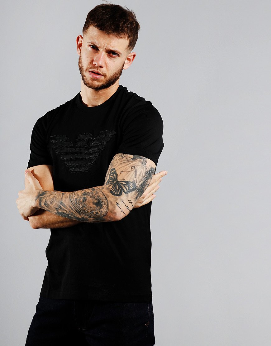 Emporio Armani Woven Eagle T-Shirt Black