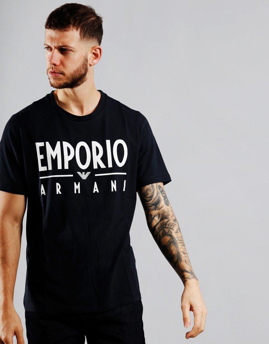 Emporio Armani Writing T-Shirt Navy