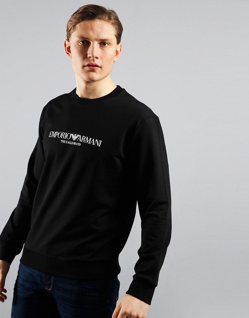 Emporio Armani Eagle Brand Crew Neck Sweat Black