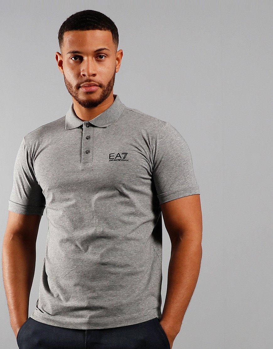 EA7 Chest Logo Polo Shirt Medium Grey Melange