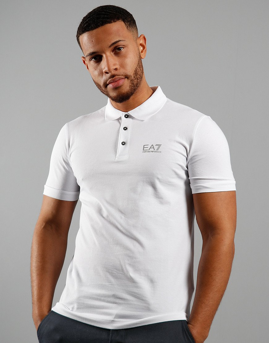EA7 Chest Logo Polo Shirt White