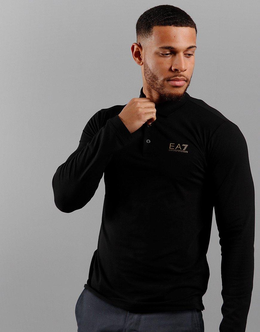 EA7 Long Sleeved Polo Shirt Black