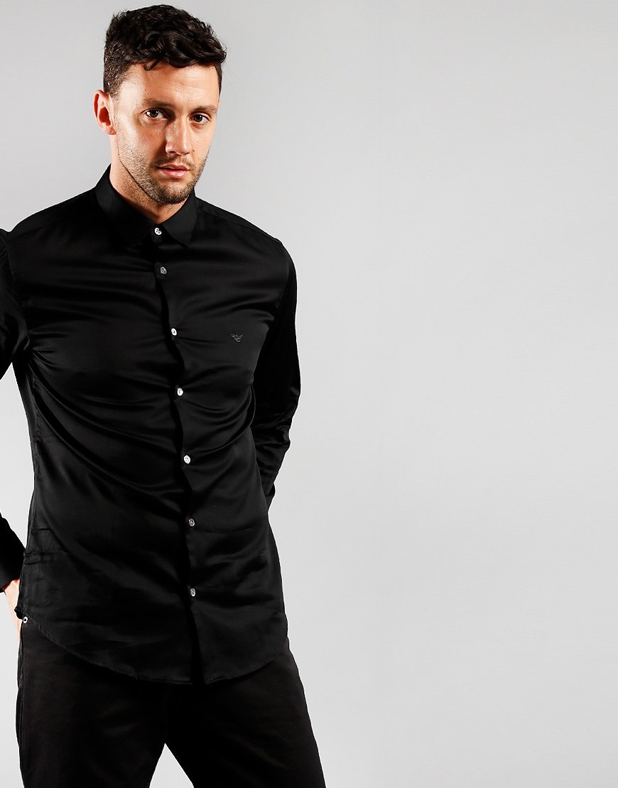 Emporio Armani Stretch Cotton Poplin Shirt Black