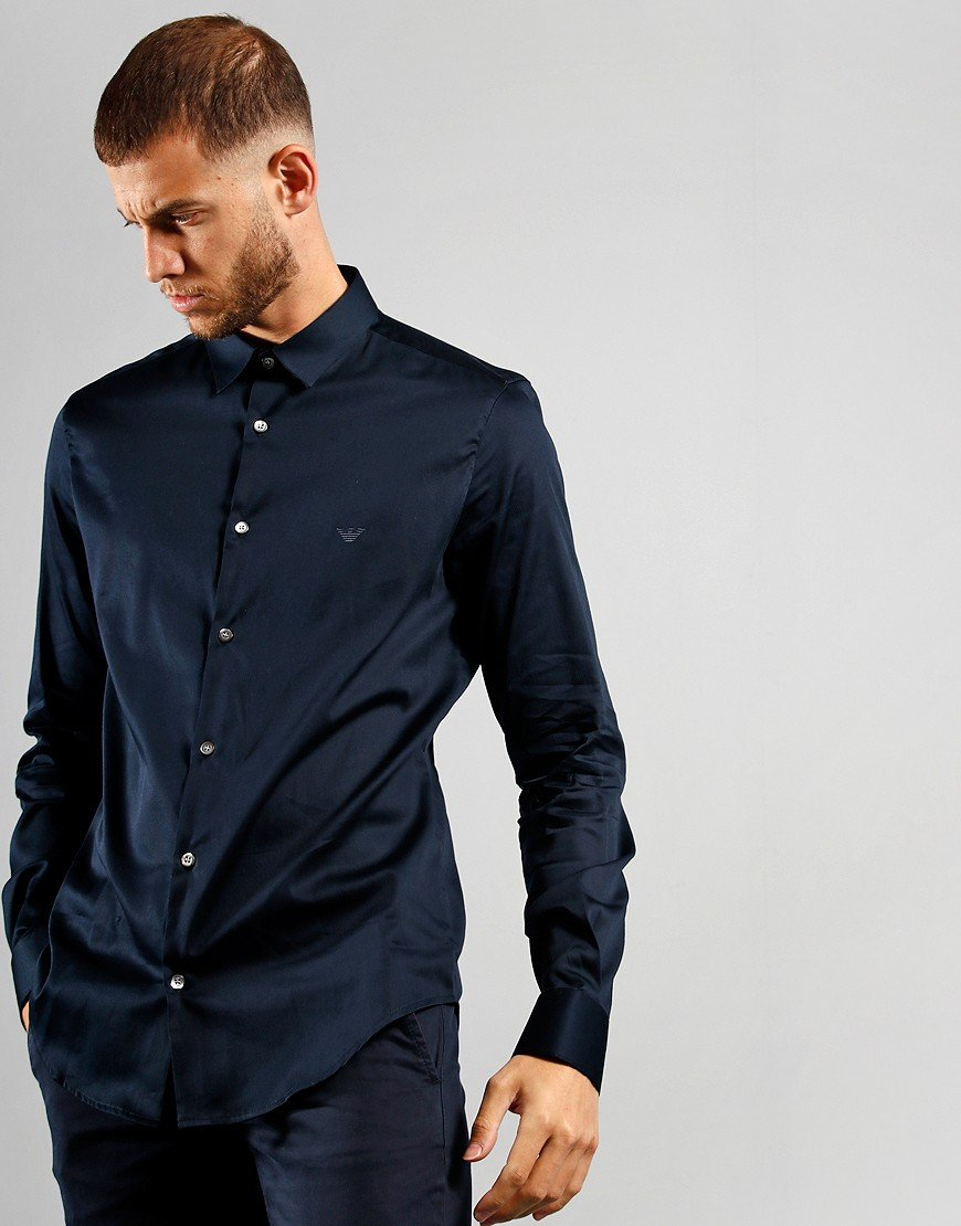 Emporio Armani Stretch Cotton Poplin Shirt Navy