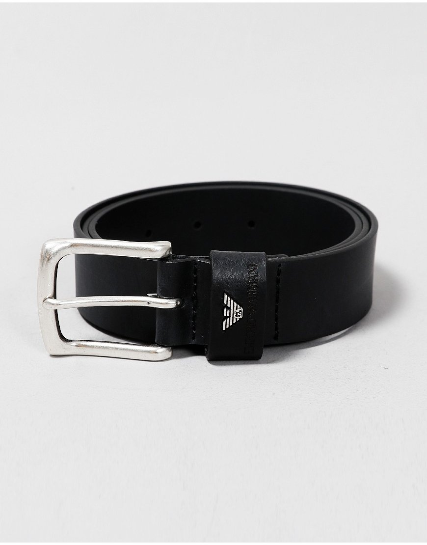 Emporio Armani Leather Maxi Logo Belt Black