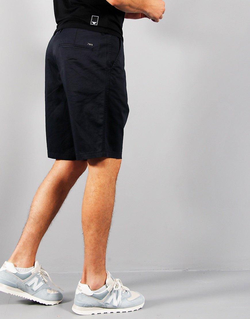 Emporio Armani Stretch Dyed Bermuda Shorts Navy