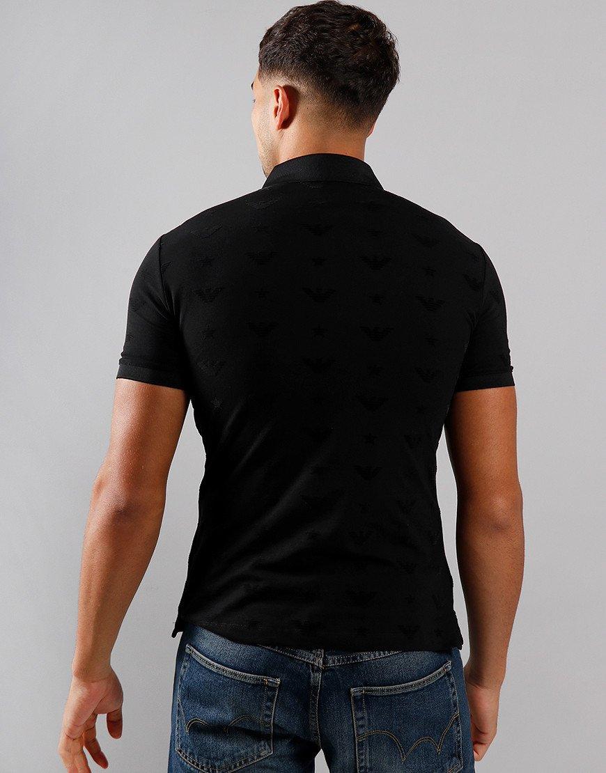 Emporio Armani Flock Logo Polo Shirt Black