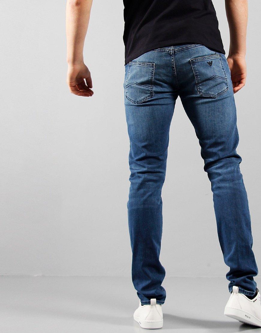Emporio Armani J10 Slim Fit Mid Denim Jeans Blue