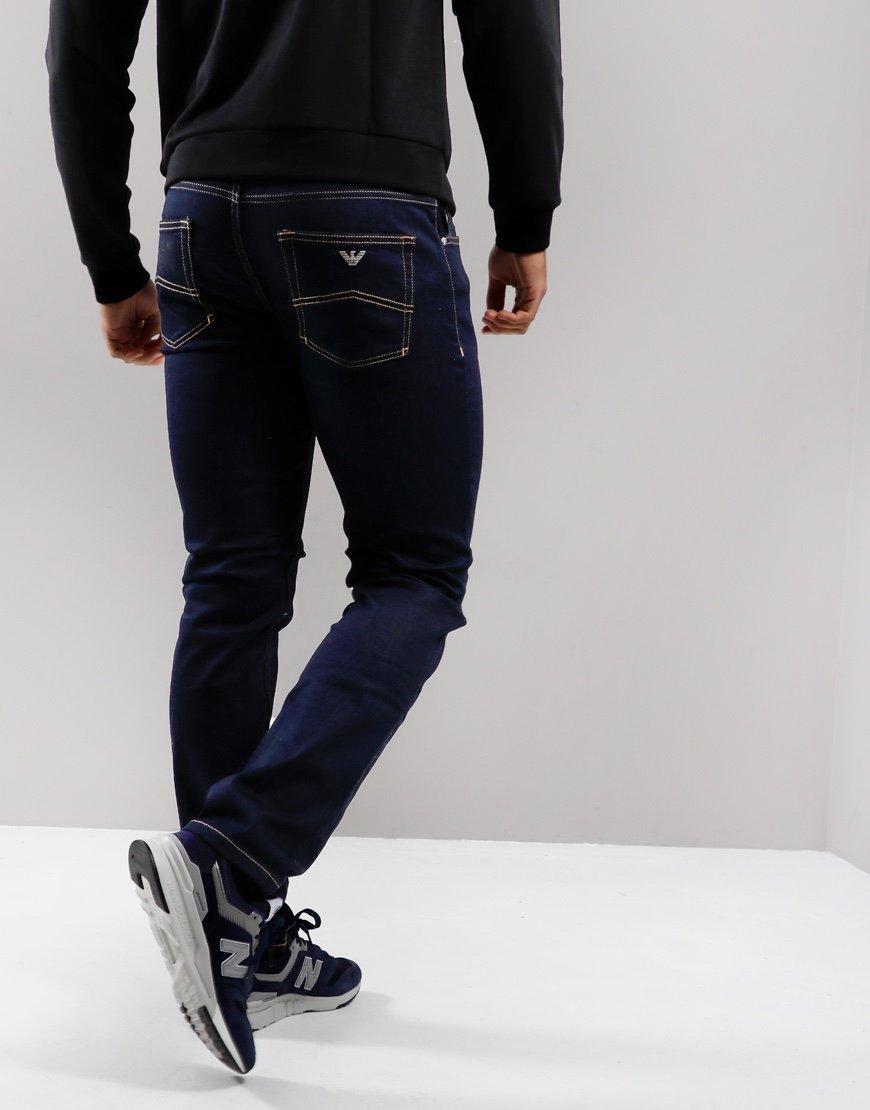 Armani J15 Regular Fit Stretch Cotton Chinos Denim Blue