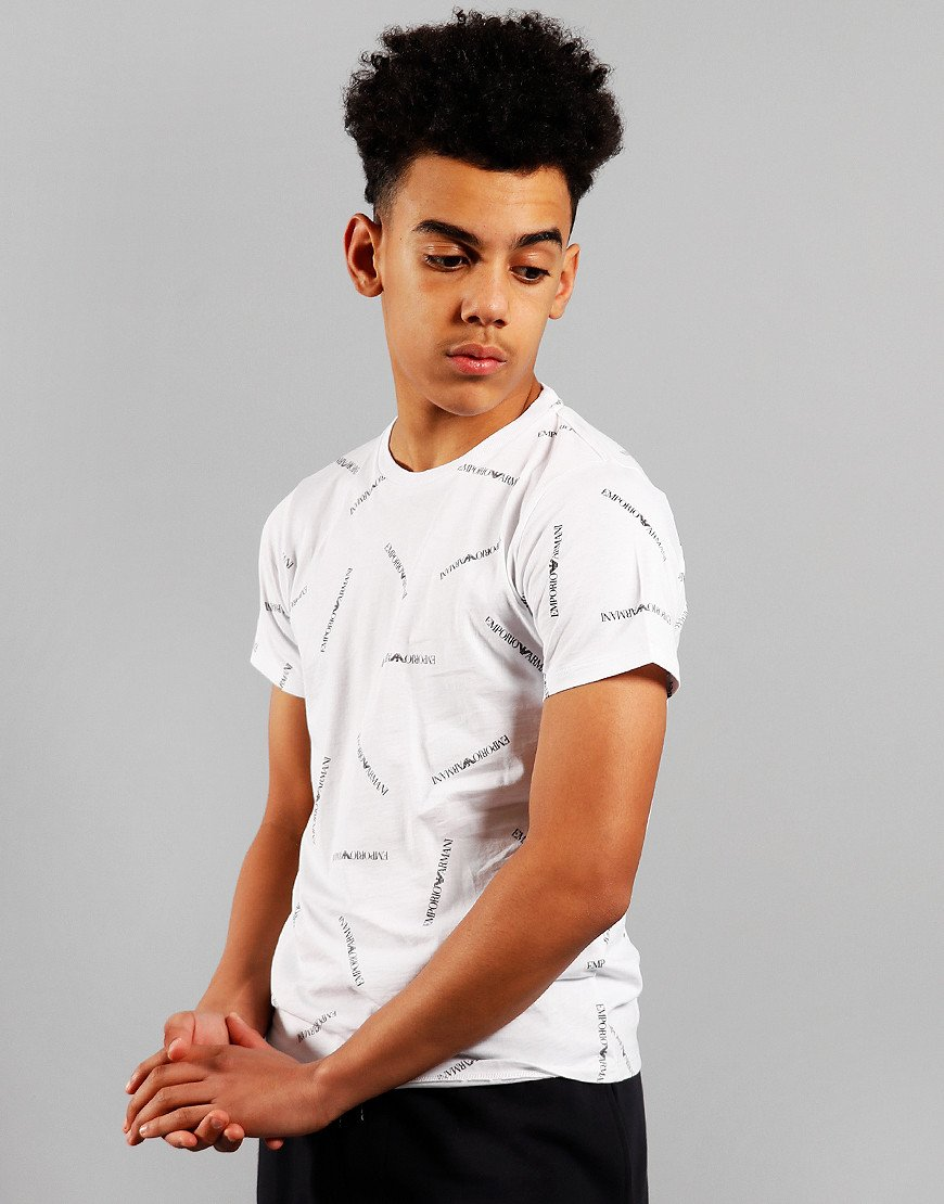 Armani Junior All Over Print T-Shirt White/Black