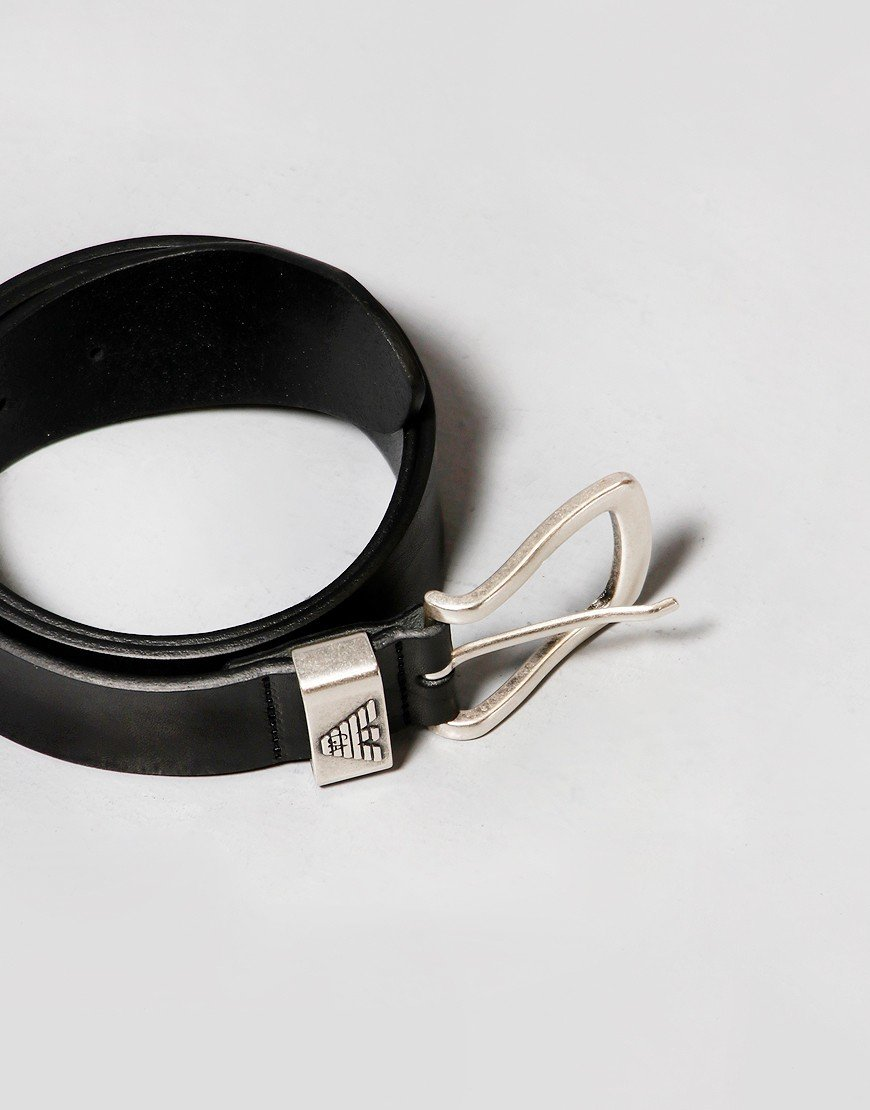 Emporio Armani Eagle Leather Belt Black