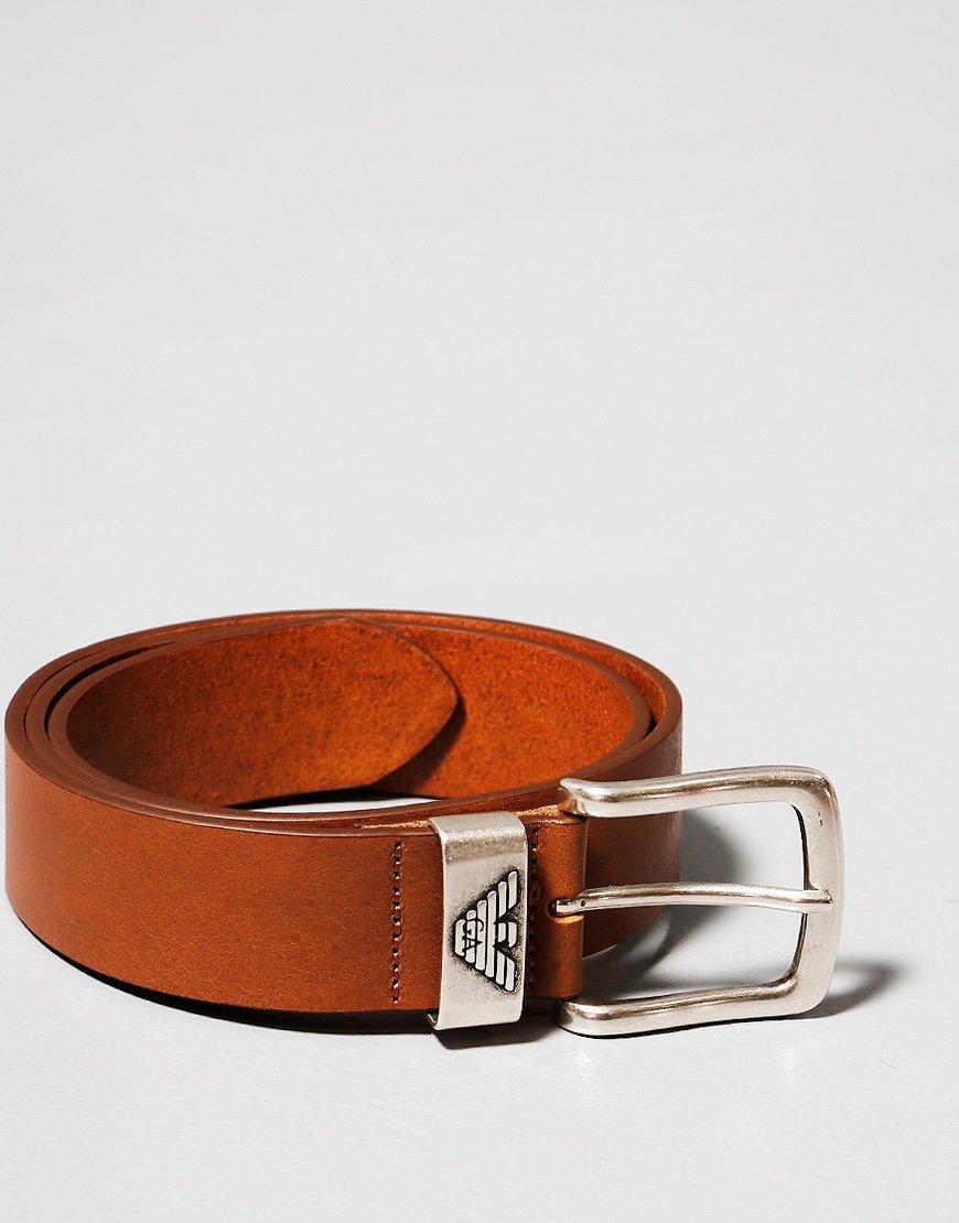 Emporio Armani Leather Belt Cognac
