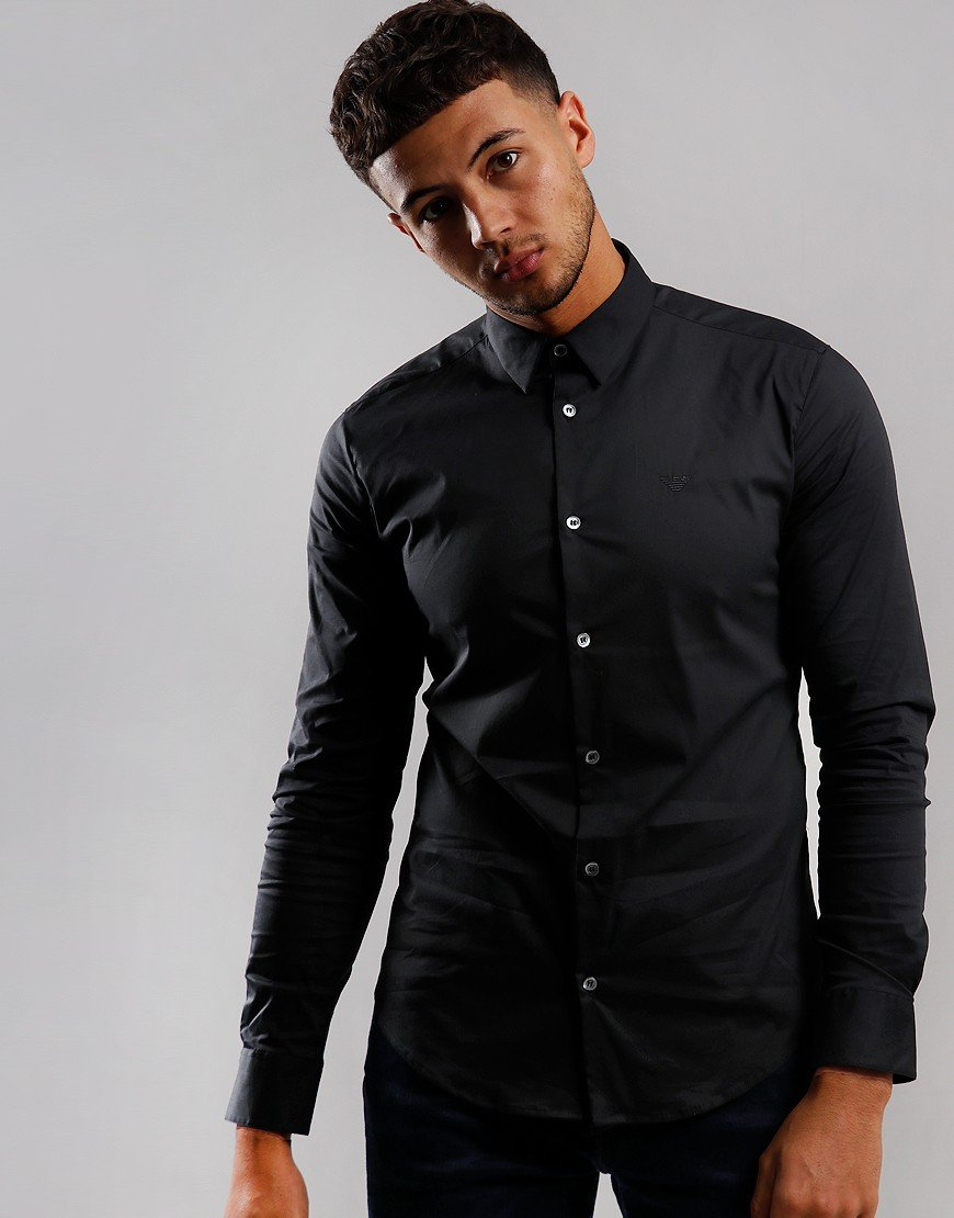 Emporio Armani Long Sleeve Woven Shirt Black
