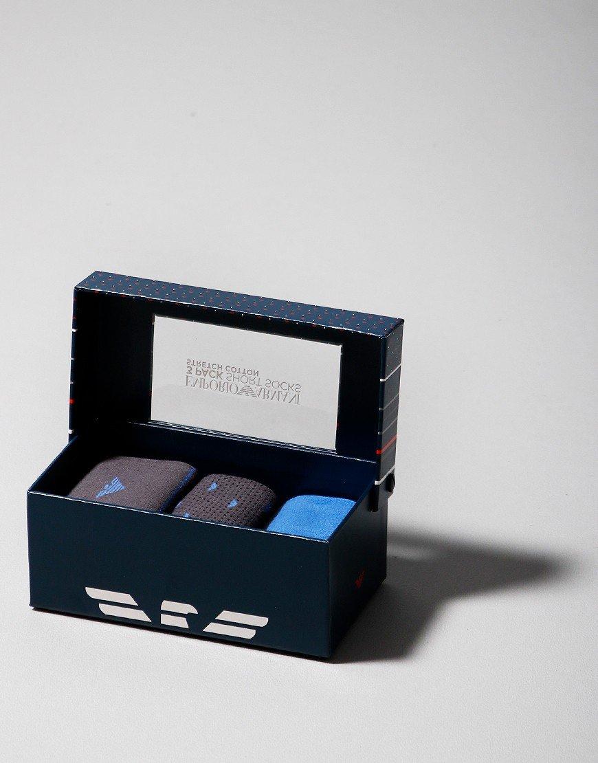 Emporio Armani 3 Pack Socks Blue/Dark Grey