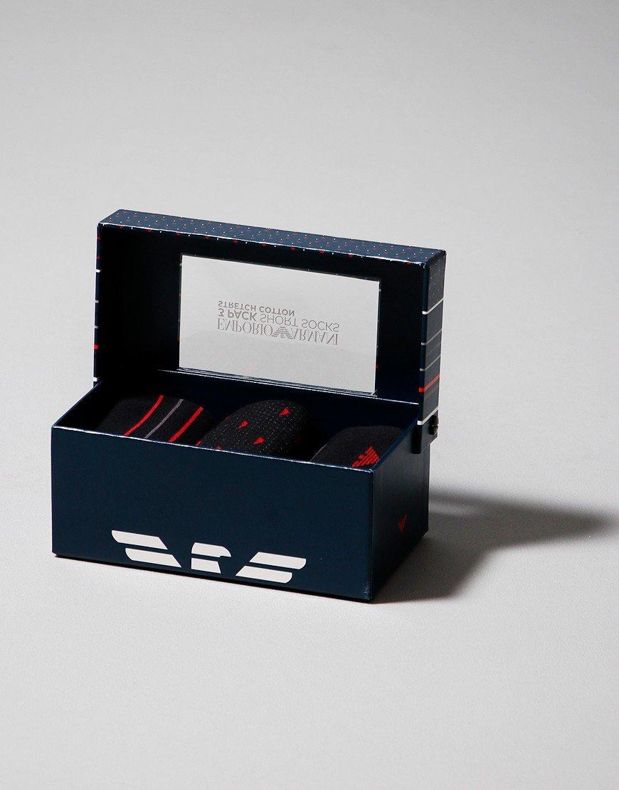 Emporio Armani 3 Pack Socks Black/Red