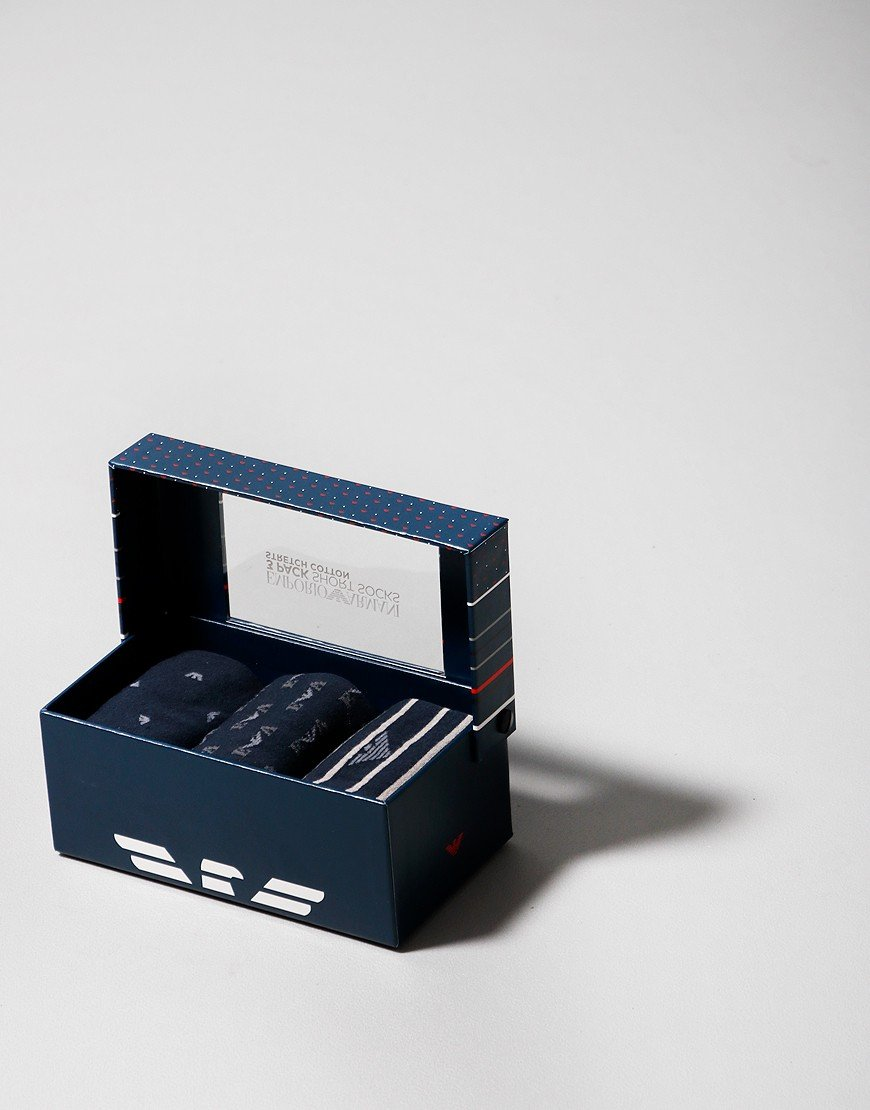 Emporio Armani 3 Pack Socks Navy/Grey