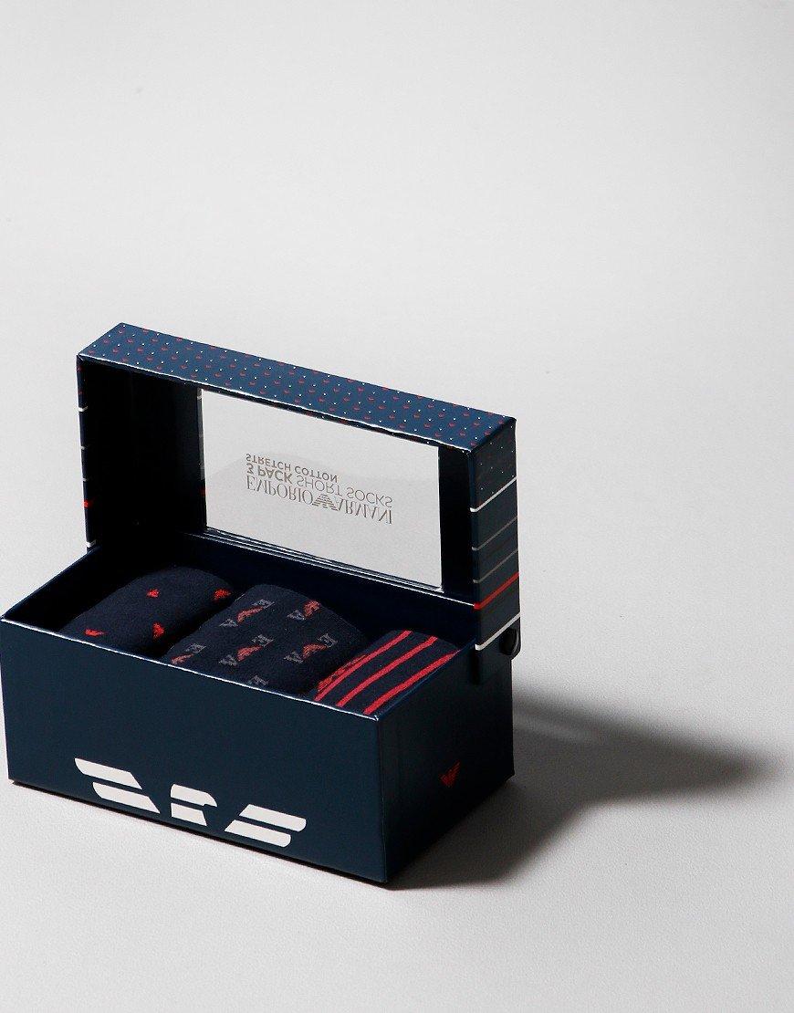 Emporio Armani 3 Pack Socks Navy/Red