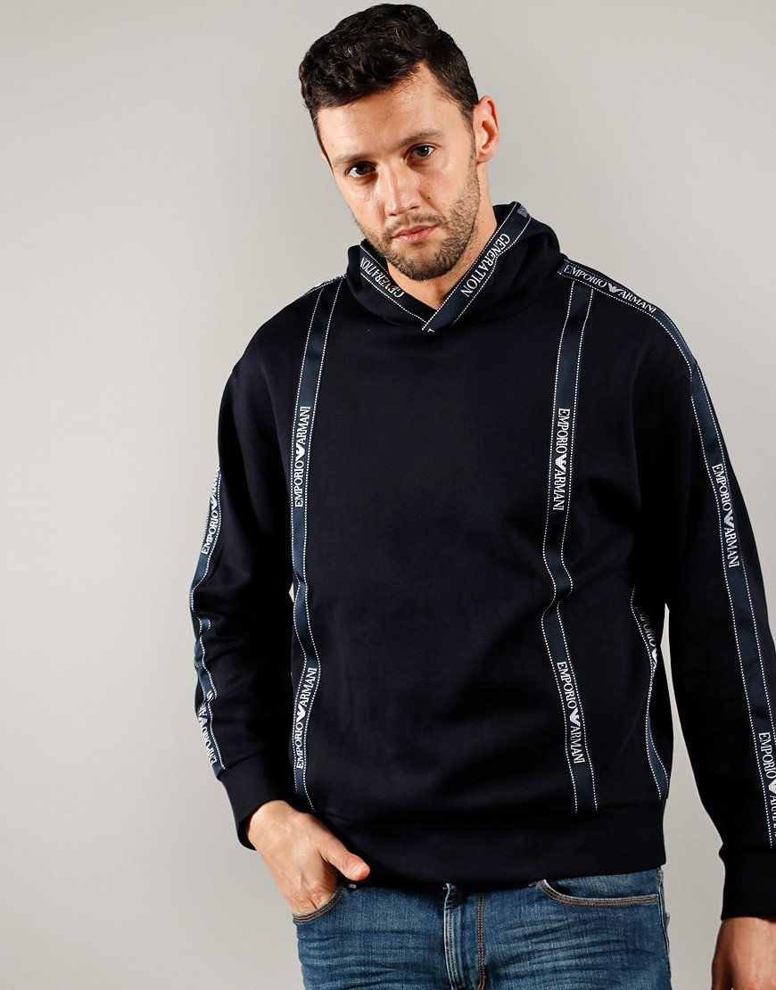 Emporio Armani Taped Hoody Navy