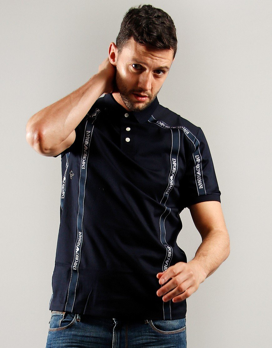 Emporio Armani Taped Polo Shirt Navy