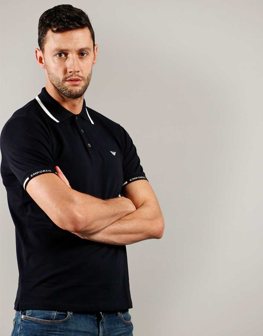 Armani Tipped Polo Shirt Navy