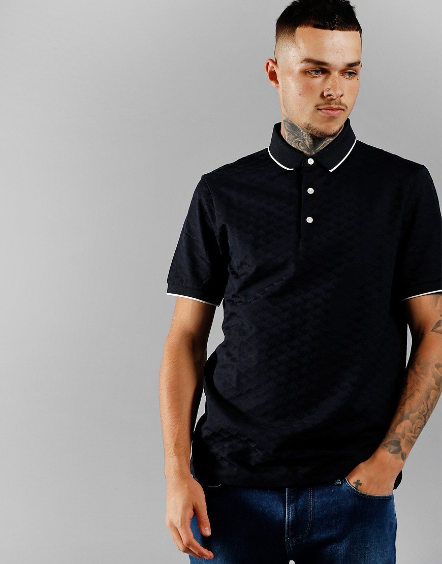 Emporio Armani Tipped Pattern Polo Navy