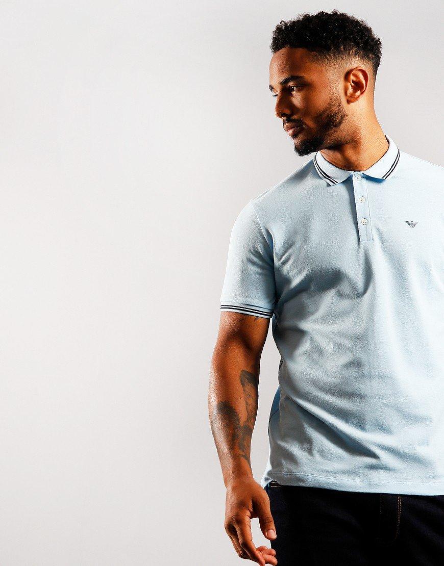 Emporio Armani Script Tipped Polo Shirt Light Blue
