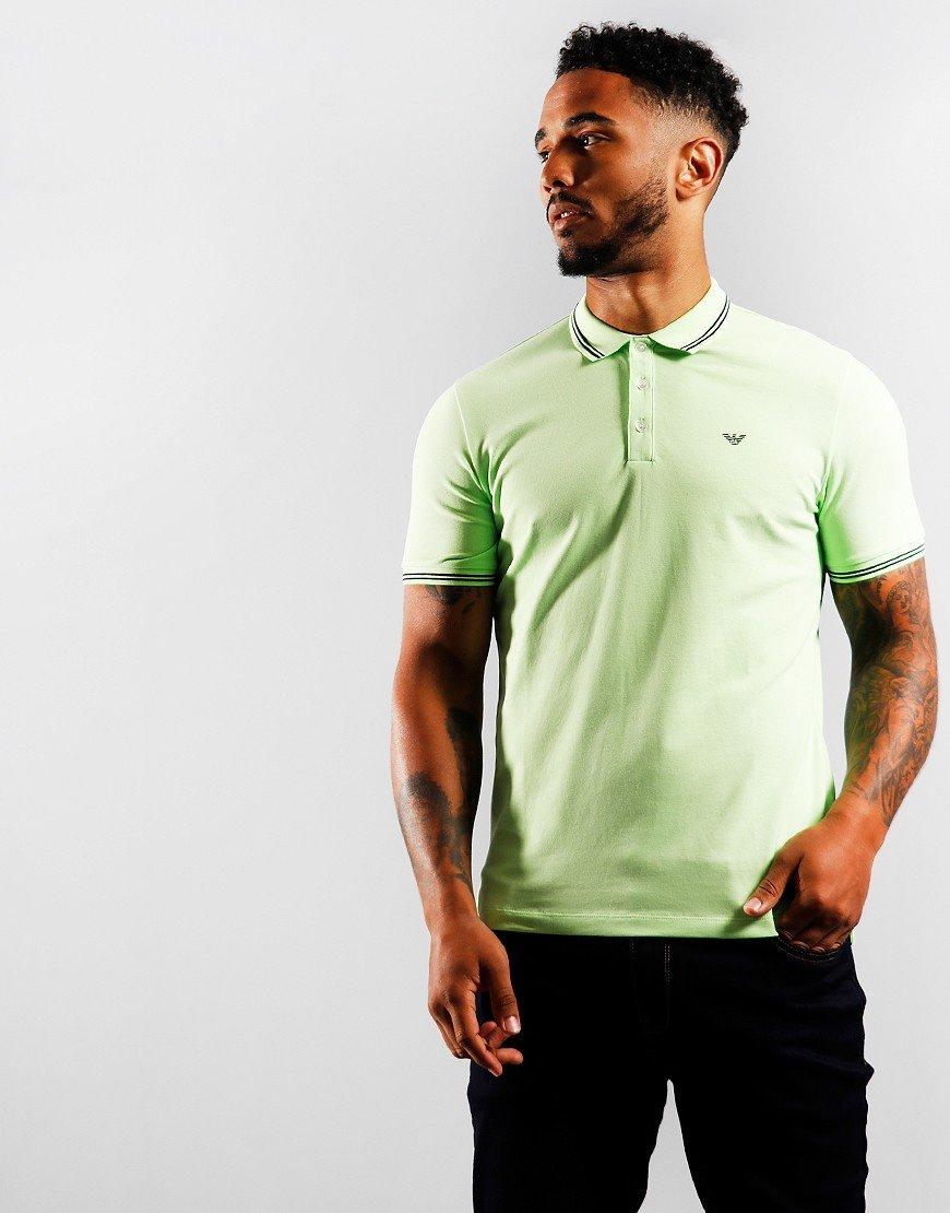 Emporio Armani Script Tipped Polo Shirt Light Green