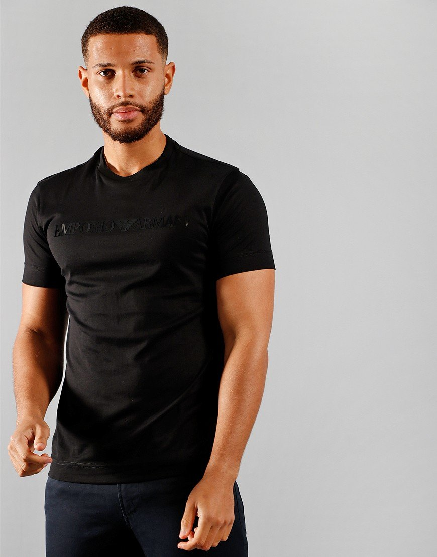 Armani Tonal Embossed Logo T-Shirt Black