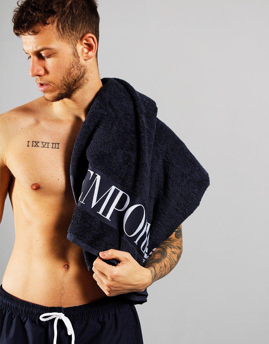 Emporio Armani Terrycloth Beach Towel Navy
