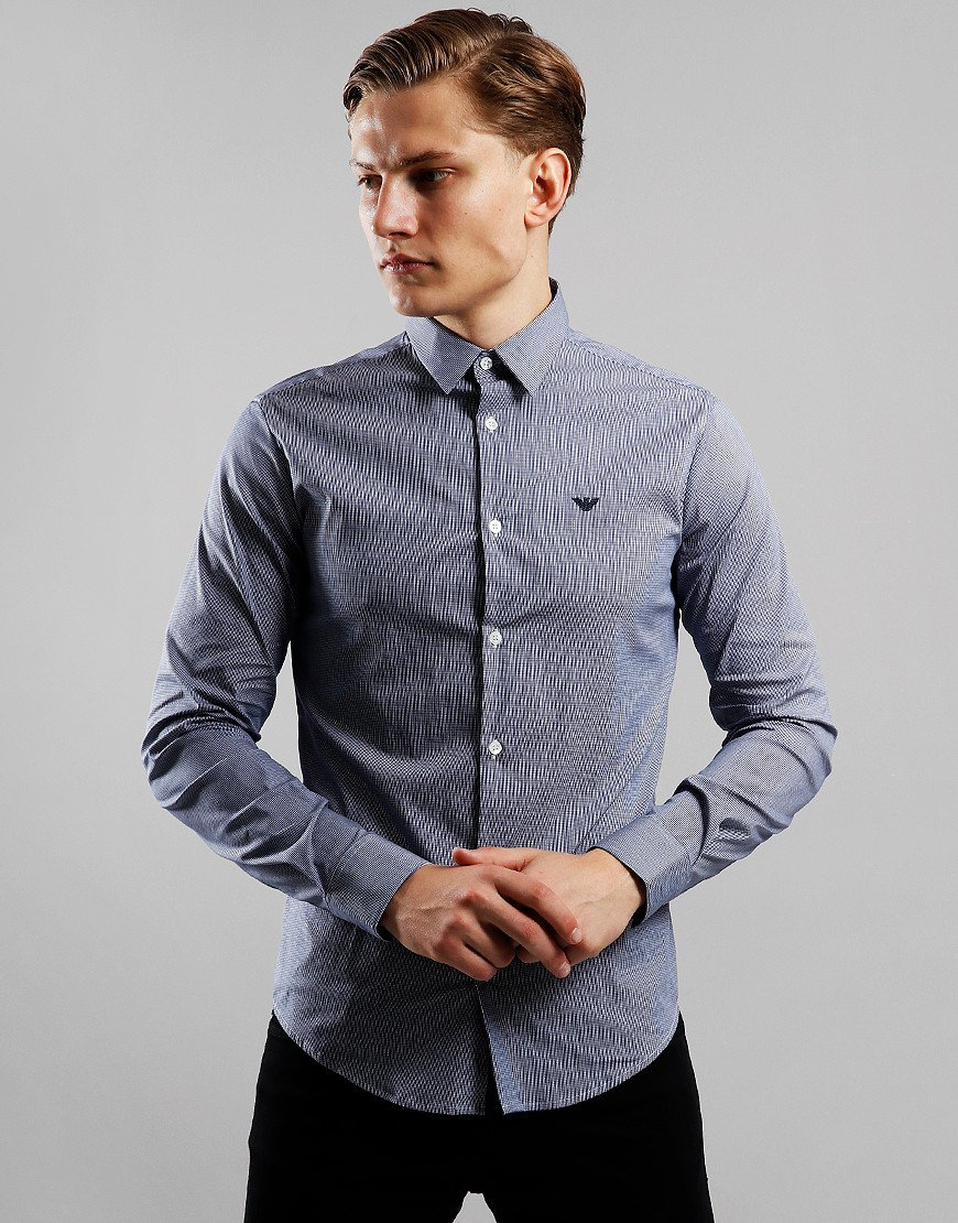 Emporio Armani Long Sleeve Woven Shirt Check Blue