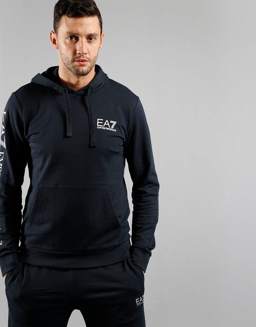 EA7 Arm Logo Hoodie Night Blue