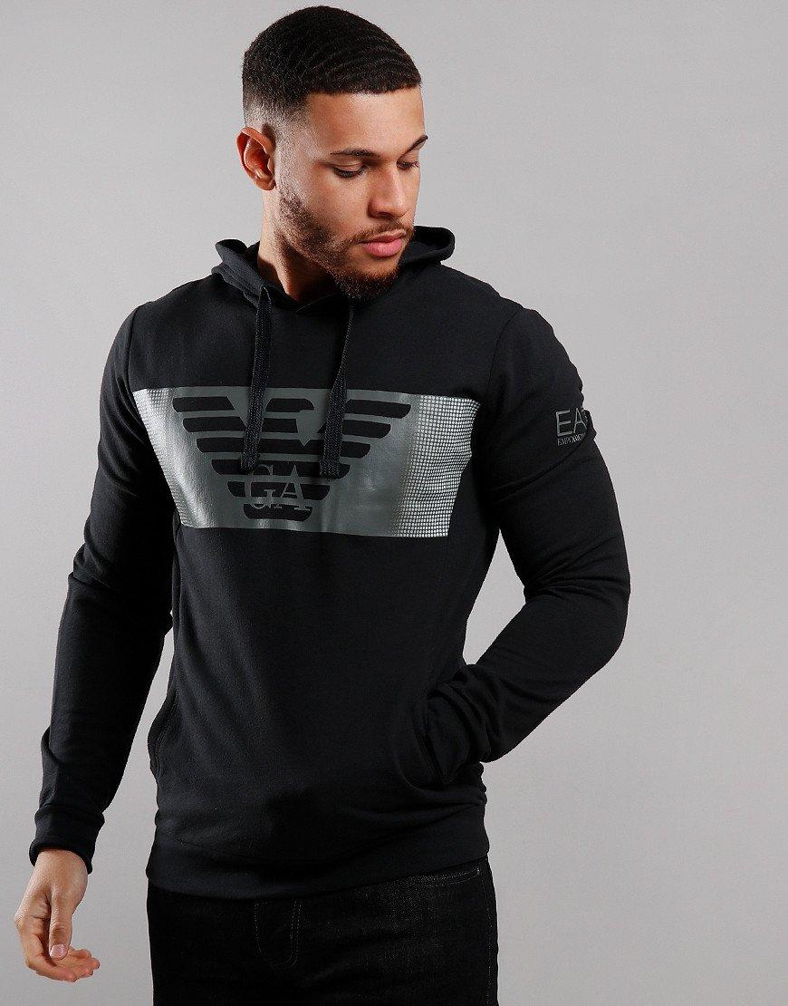 EA7 Chest Print Hoodie Black