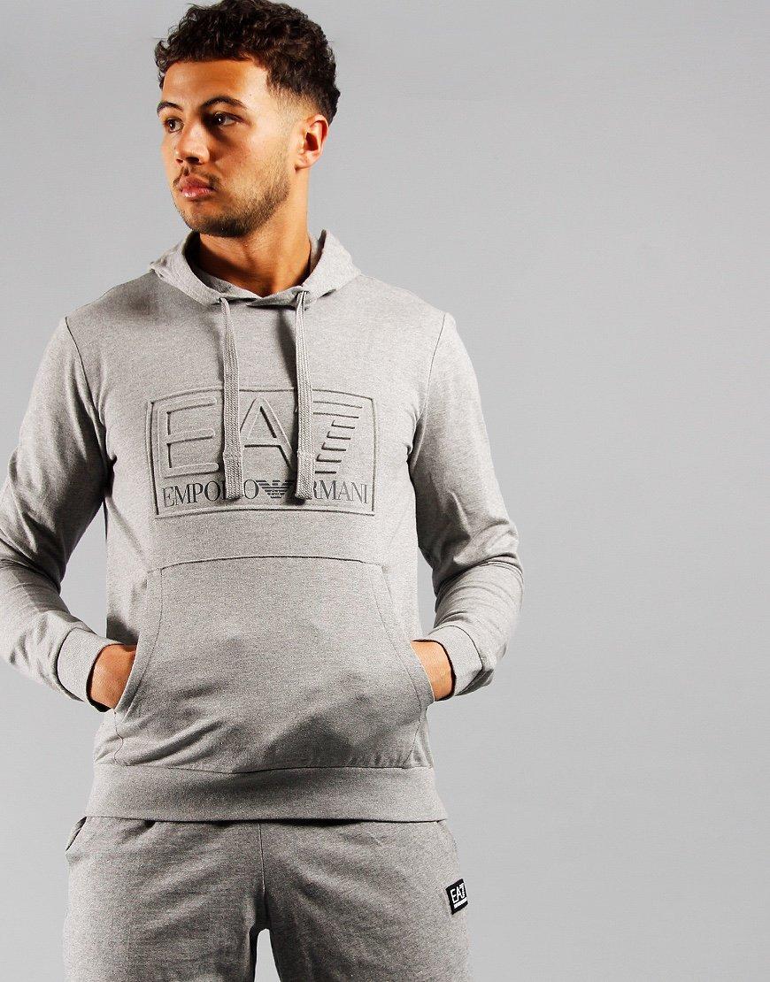 EA7 Embossed Logo Hooded Sweat Mid Grey Melange