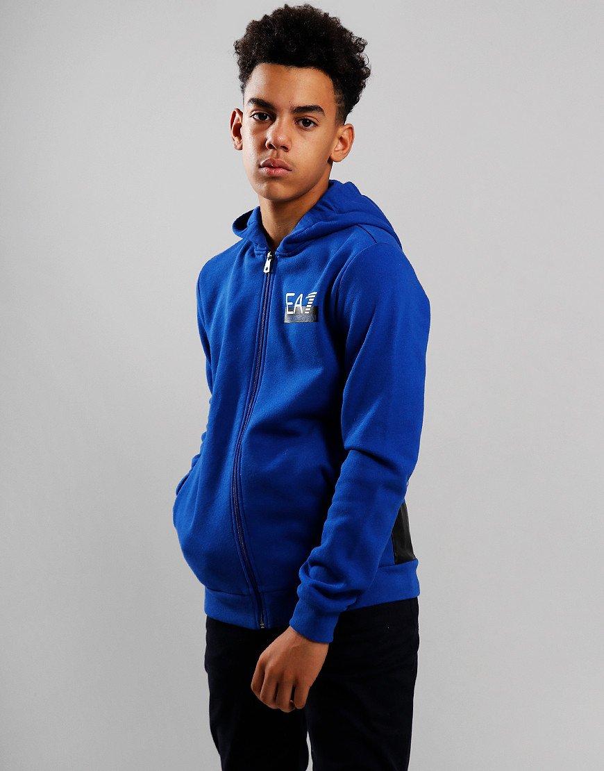 EA7 Kids Print Logo Hooded Sweat Mazarine Blue