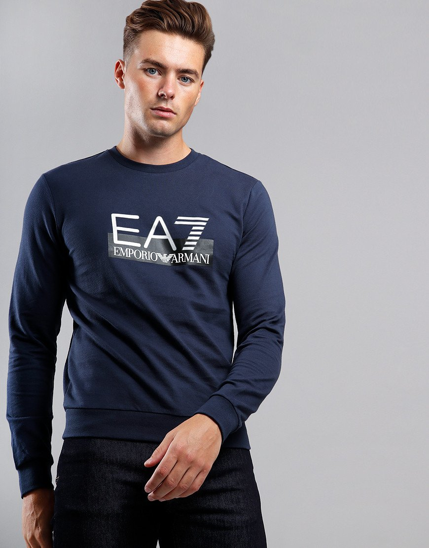 EA7 Large Logo Crew Sweat Navy Blue