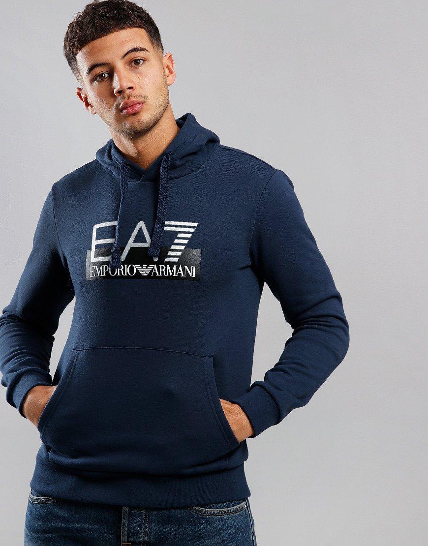 EA7 Large Logo Overhead Hoodie Navy Blue
